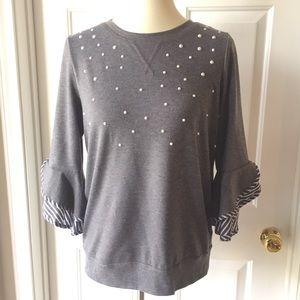 BCX Sweater Ruffle Sleeves
